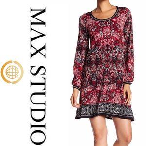 Max Studio red & black print shift dress